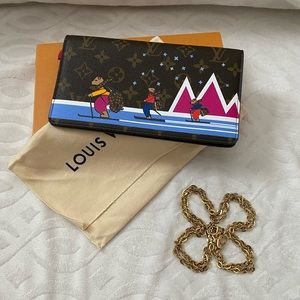 Louis Vuitton skiing bear pochette weekend Xmas